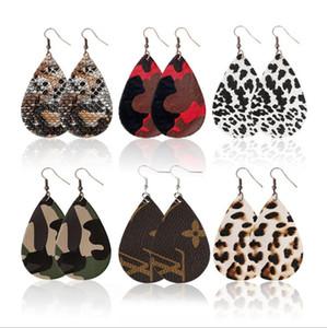 Nuevo estilo de lágrima colgante de cuero pendiente Leopard gotitas de agua encanto cuelga los pendientes para la señora