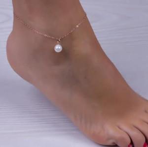 Cavigliere catena del braccialetto alla caviglia simulato pendente della perla di collegamento spiaggia per monili delle donne dei calzini accessori del piede 20pcs / lot A1 di trasporto