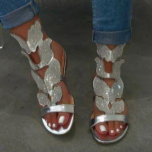 Лето Женщины Гладиатор Сандалии Платформы Плоским Peep Toe Кристалл Крылья 2020 Моды В Риме Вечеринку Женщина Дамы Обувь Zapatos Де Mujer