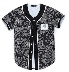 Hot Baseball Jersey T Shirt Flowers 3D Print Short Sleeve Men T-Shirt Button Shirt Slim Fit Hip Hop Coat QF03
