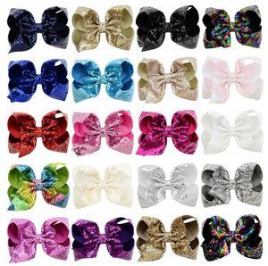 2019 Childrens 42 colores de la cinta Pretty Princess de las horquillas 8INCH bebés lindos Moda lentejuelas tamaño grande del arco Hairclips