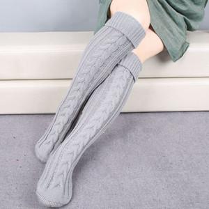 무릎 양말 여성 롱 스타킹 가을 겨울 동안 니트 양말은 따뜻한 크리스마스 허벅지 높은 통기성면을 유지