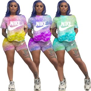 Summer women brand jogging suit sports designer shorts two piece set tie dye outfits letter sweatsuit short sleeve casual Tshirt shorts 3022