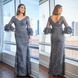 Luxury Mermaid Mother Of The Bride Dresses Full Appliqued Lace Sequins Formal Party Dress V-neck Long Sleeves Custom Made Mother Gown