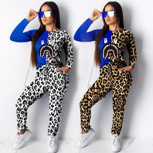 Tubarão do leopardo impressão Camiseta Treino Mulheres manga comprida T-shirt camisola + calça Calças 2 Piece Set Patchwork Design Roupa Outfits