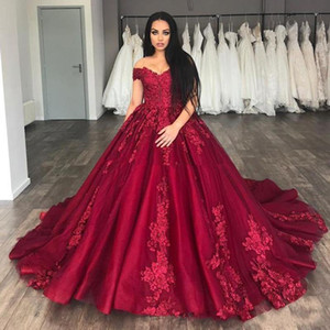 New Dark Red Ball Gown Quinceanera Dresses Off Shoulder Lace Appliques Tulle With Flowers Sweet 16 Puffy Plus Size Party Prom Evening Gowns