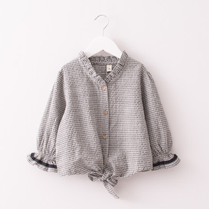 Kids Long Sleeve Casual Shirt Clothing Baby Girls Spring autumn Mandarin collar blouse Children plaid Shirt Clothes