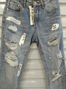 SOLID CLASSIC STYLE FASHION STRAIGHT OFWHITE36 PASSFORM BIKER BLUE JEANS PANTS DISTRESSED Wasserdiamant Zebrastreifen TOP JEANS SZ 29-40