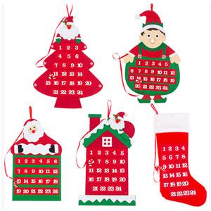 Natal Advent Calendar Wall Hanging Xmas Ornamento dos desenhos animados Papai Noel Stocking Count Down Calendário de Natal Decoração XD22381