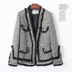 Black And White Check Small Fragrant Style Coat Female Autumn Winter Big Size Temperament Restore Ancient Ways Short Heavy Woolen Tweed Suit