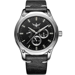 T100 tritium watch,men quartz wrist watches Yelang luminous man waterproof relogio mens sport wristwatch V1027 - leather strap T200409