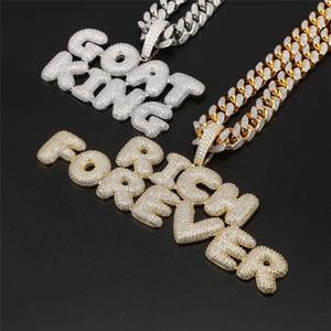 Collar de la calle Roca hotsale Nombre personalizado collar de Hip Hop del collar de hielo fuera de la CZ personal burbujas carta de suspensión de los hombres con la cadena de la cuerda