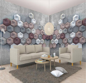 Home Décor 3D geometric American large mural bedroom bedroom living room TV wall personality retro nostalgic background wall covering