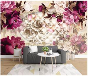 Personnalisé à grande échelle murale 3d photo papier peint 3D en trois dimensions luxe européen peint à la main fleurs doux mural TV canapé fond