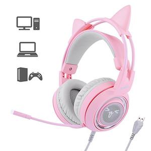 Kadınlar Çocuklar için Mic İçin Bilgisayar PC ile SOMIC G951 Sanal Surround Ses Kulaklık LED Kedi Kulak Kulaklık