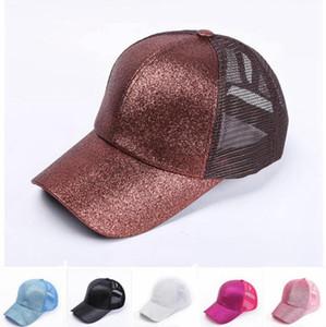 Lentejuelas sombrero de béisbol del sombrero del Snapback ajustable Mujeres Casual brillo Cola de caballo Caps Hip Hop Summer Party Sombreros LJJO7666