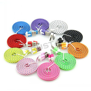 1m 2m 3m micro v8 5pin Type C Type-c fabric flat noodle usb data charging cable for samsung s4 s6 s7 edge s8 for htc lg g5 etc phone