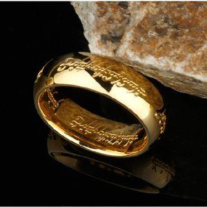 De haute qualité en titane Hobbit en acier Lettre anneaux pour les hommes noirs en acier inoxydable d'une bague de 6MM