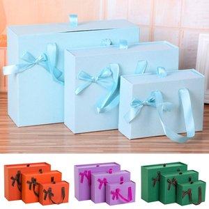 مهرجان حقيبة هدية التعبئة مقبض ساحة علب الهدايا مع الشريط حلوى الشوكولاته كرافت ورقة مربع الكوكيز صندوق المرأة