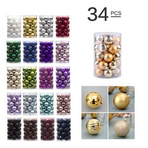 34PCS / SET Noel ağacı Süsleme Renkli Noel Topu Noel ağacı Süsleri Home For Parti Otel Pencere Düğün Süsleme