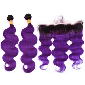 # 1B / Purple Ombre Body Wave 2 Bundles con 13x4 Lace Frontal 3Pcs Lot Ombre Purple Wrappes con capelli vergini con chiusura frontale