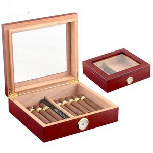 Humidor de madera de cedro de cigarro con humidificador higrómetro humidificador de cigarro humidificador de caja 20-30 cigarros COHIBA Regalo para hombres