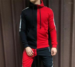 Kapüşonlular Uzun Kollu Moda Kapşonlu Genç Tişörtü Çizgili Baskılı Kontrast Renkler Erkek Giyim Lüks Hırka Mens