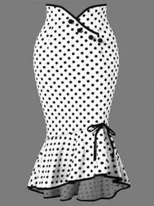 Nueva moda negro blanco lunares trompeta sirena faldas cortas para mujeres 2019 vaina volantes vestido corto con botones FS5005
