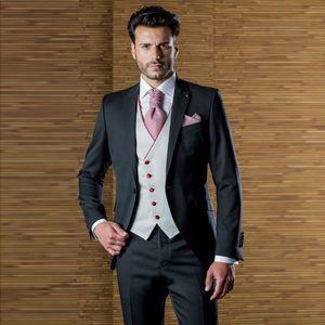 Hübsche Designer Herren Anzüge One Button Hochzeit Anzüge für Männer mit Jacke Weste und Hose Bräutigam Smoking drei Stücke Spitzen Revers Blazer