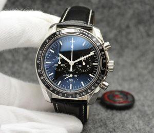 7 Stil Hız Eş Eksenli Kuvars VK Saatler Siyah Dial Mens Moonwatch Profesyonel Chronograph 42mm Usta Paslanmaz Çelik İzle saatı