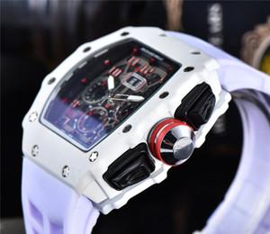 Luxo esqueleto do crânio desporto Relógios de diamantes Todos Dial Trabalho Quartz Relógios Moda embutidos perfurar Mens Quartz Richard Relógios frete grátis