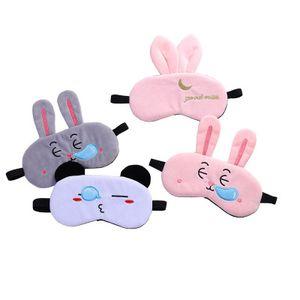 Máscaras de sueño Corto de peluche Animal Máscara de ojo Orejas de conejo de dibujos animados Cubierta de viaje Viaje Relax Aid Con los ojos vendados Máscara para dormir