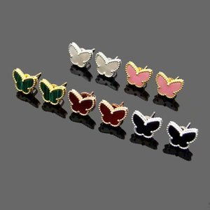 Europe America Fashion Lady Brass Onyx Mother of Pearl Malachite Carnelian Mini Lucky Butterfly 18K Plated Gold Earrings 3 Color