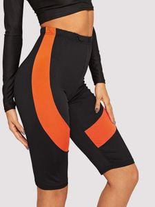 Correndo Pants Mulheres Yoga Calças 2020 Esporte Leggings Gym Laranja Patchwork joelho fitness Leggings apertado Elastic Yoga
