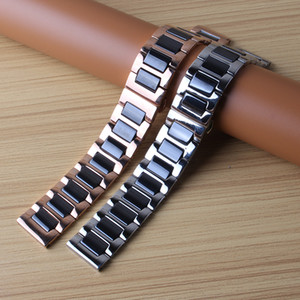 HIGH Quality Ceramic + Stainless Steel Watchband Watch straps Butterfly Buckle Bracelet 14mm 16mm 18mm 20mm 22mm rosegold metals