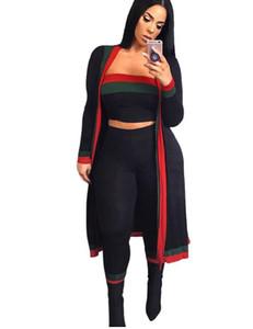 2019 nueva llegada Negro Rayado 3 Piezas Conjuntos chándales Casual Trajes Trajes sin tirantes larga capa Bodysuit Ropa Mujer