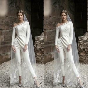 2020 nouveaux pantalons de mariée Costume élégant à manches longues robes de mariage de Bohème Deux Pièces longueur cheville Robes de mariée Boho Vestidos De Novia 754