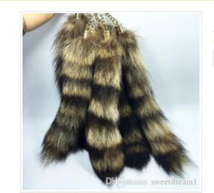 Raccoon Tail Keychain Pendant 280mm-300mm Car Bag Buckle Keychains Fashion Accessories DIY Buckles Keyrings For Woman Man Gifts