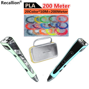 RECALLION 3D Pen LED Screen DIY 3D Printing Pen+100 200m 20Color PLA Filament Creative Toy Gift For Kids Design Drawing Pen