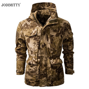 Jodimitty 2020 Soft Shell Tarnung Tactical Jacket Men mit Kapuze wasserdichten warmen Windjacke Mantel mit Kapuze Oberbekleidung
