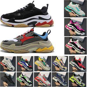 2020 Tasarımcı Üçlü S Platformu Sneakers İçin Erkekler Kadınlar Chaussures Paris 17FW Üçlü Siyah Krem Sarı Kırmızı Günlük Ayakkabılar Lüks Ayakkabı 36-45