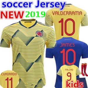 2019 crianças Colombie maillot de futebol Colombie Accueil maillot de futebol jaune 2020 # 10 JAMES # 9 FALCAO # 11 CUADRADO camisa de futebol
