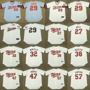 Minnesota 27 David Ortiz 47 Jack Morris 32 Dave Winfield'in 29 Rod Carew 57 JOHAN Santana 38 RICK AGUILERA beyzbol Jersey