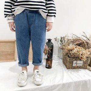 Herbst Jungen Mädchen Art und Weise Allgleiches Jeans der koreanischen Art, Kinder, Kinder 2 Farben beiläufige Denimhosen 1-5Y Y200409