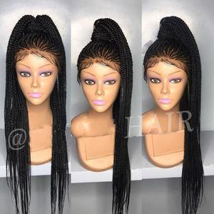 Новая мода Box Плетеных парики с волосами младенца Dark Roots рук Связанных жаропрочных Synthetic Плетеного фронт шнурком для черных женщин