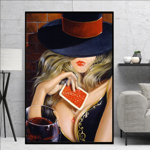 Sexy Woman With Hat Oil Painting Red Lips Girl Lady Canvas Painting Oil Print Poster Wall Art Picture For Living Room Home Decor