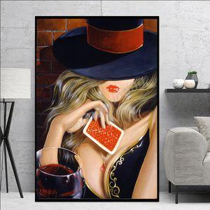 Sexy mulher com chapéu da pintura a óleo Red Lips menina Lady Canvas pintura a óleo Imprimir Poster Wall Art Imagem Para Living Room Home Decor