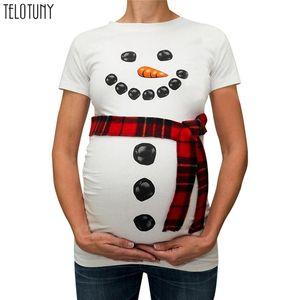 Telotuny Clothes Pregnancy Women Christmas Snowman Cartoon Maternity Maternity Clothes T Shirts Pregnancy Tops Clothes Pergnan