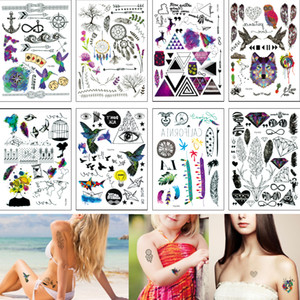 14.8 * 21cm YQ Pequeño tatuaje temporal etiqueta Pluma Palabra Dreamcatcher clásico falso Negro impermeable del cuerpo tatuaje de la mano del cuello por niños hombres de las mujeres