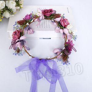 Couronnes De Mariée Fleurs décoratives de mariage décoration coiffe enfants Romantique simulation fleurs HeadbandT2I5613